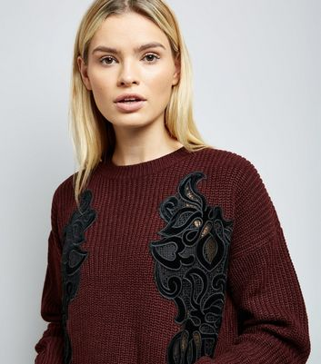 Burgundy Velvet Lace Detail Jumper New Look