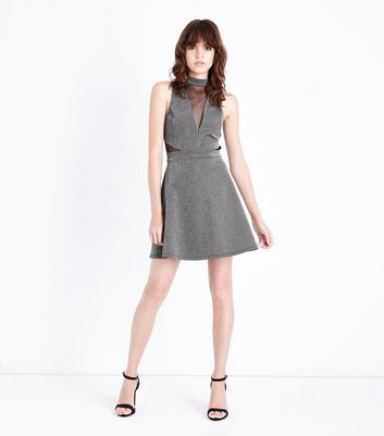 Silver Mesh Panel Skater Dress New Look