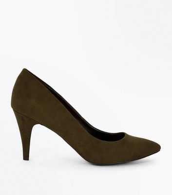 Khaki Suedette Cone Heel Court Shoes New Look