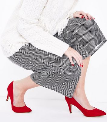 Red Suedette Cone Heel Court Shoes New Look