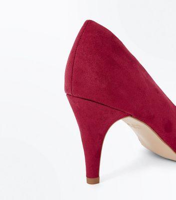 Deep Pink Suedette Cone Heel Court Shoes New Look