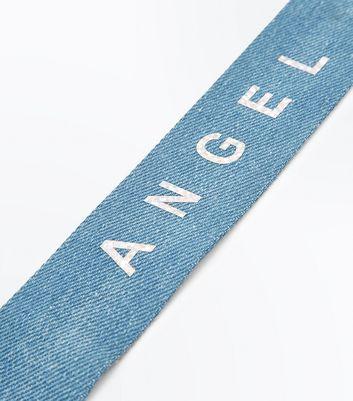 Denim 'Angel' Slogan Choker New Look