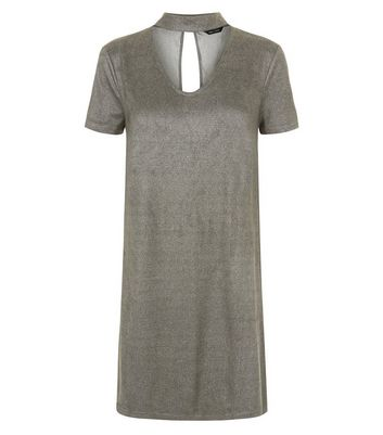 Grey Suedette Choker Neck Dress New Look
