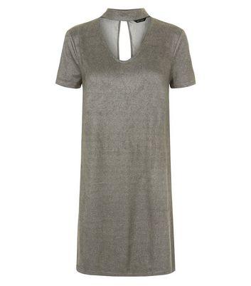 Grey Suedette Choker Neck Dress New Look