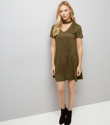 Khaki Suedette Tunic Dress New Look