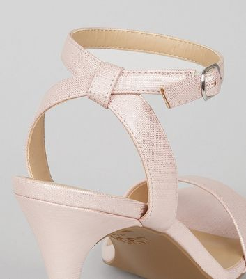Pink Cross Strap Back Heeled Sandals New Look
