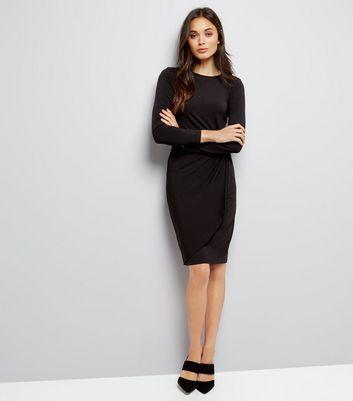 Black Ruche Side Bodycon Dress New Look