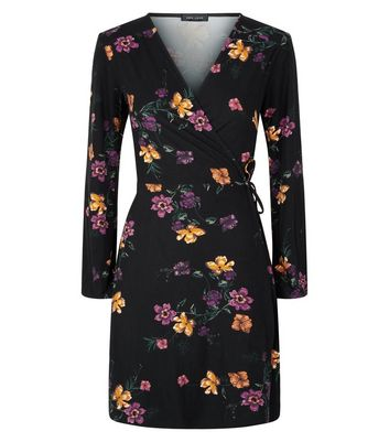 Black Floral Print Wrap Dress New Look