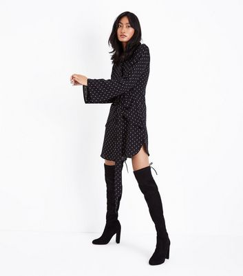 Black Spot Print Tie Waist Shirt Dress New Look