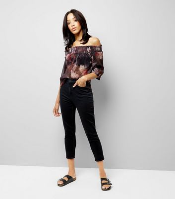 Black Floral Print Metallic Detail Bardot Neck Top New Look