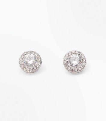 Silver Cubic Zircona Round Stud Earrings New Look