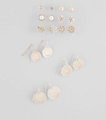9 Pack Rose Gold Stud Filigree Drop Earrings New Look