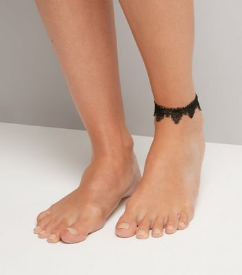 Black Scalloped Lace Anklet New Look