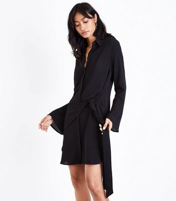 Black Tie Side Flared Sleeve Shirt Dress New Look
