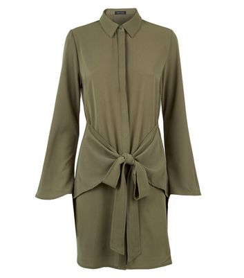 Khaki Tie Front Chiffon Shirt Dress New Look