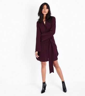 Burgundy Tie Front Chiffon Shirt Dress New Look