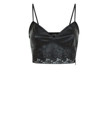 Black Leather-Look Floral Cut Out Bralet New Look