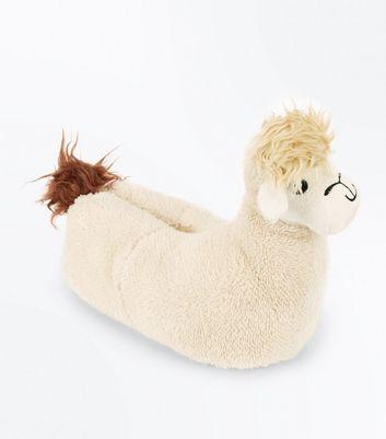 Cream Llama Slippers New Look