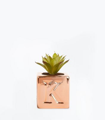 Rose Gold 'K' Initial Faux Plant New Look