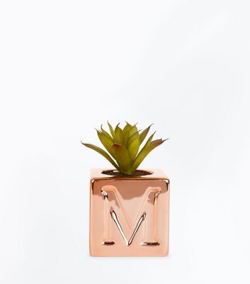 Rose Gold M Initial Cube Planter