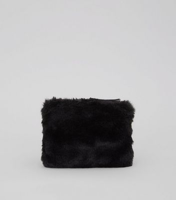 Black Faux Fur Embellished Zip Top Purse New Look
