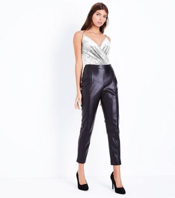 Silver Velvet Wrap Front Bodysuit New Look