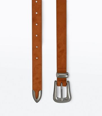 Tan Sleek Western Buckle Belt New Look