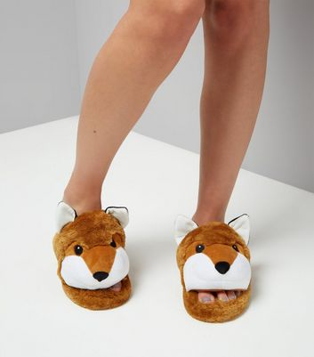 Tan Fox Slider Slippers New Look