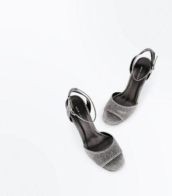 Silver Block Heel Strappy Sandals New Look
