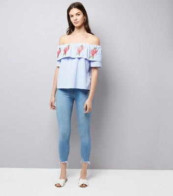 Cameo Rose Blue Floral Embroidered Top New Look