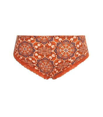 Orange Paisley Print Satin Briefs New Look