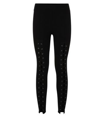 Black Eyelet Lace Up Front Leggings New Look