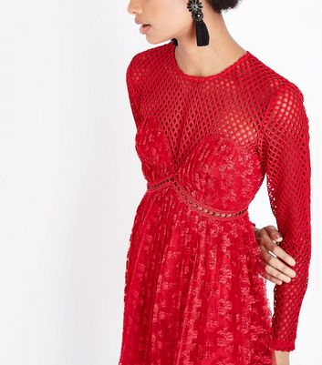 Red Fishnet and Lace Pleated Dress New Look
