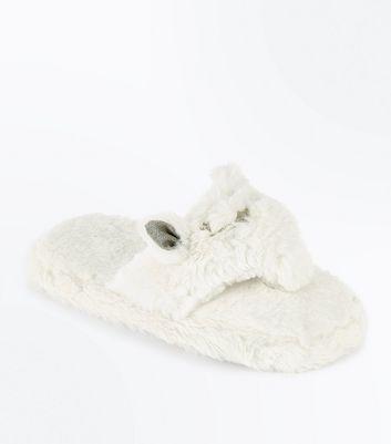 White Faux Fur Cat Flip Flop Slippers New Look