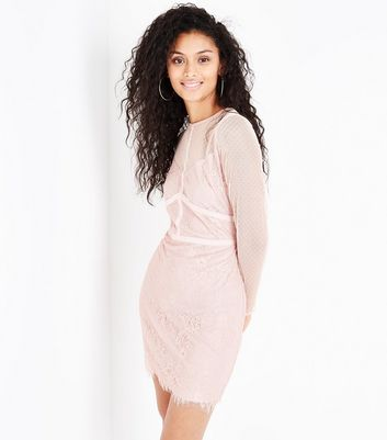 Shell Pink Mesh and Lace Long Sleeve Bodycon Dress New Look