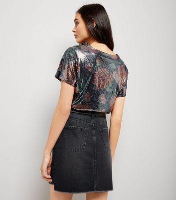 Black Floral Print Sequin T-Shirt New Look