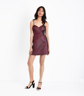 Deep Pink Metallic Crinkle Mini Dress New Look