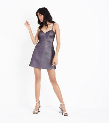 Silver Metallic Crinkle Mini Dress New Look
