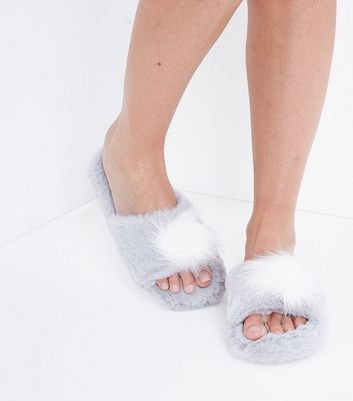 Grey Pom Pom Faux Fur Slider Slippers New Look