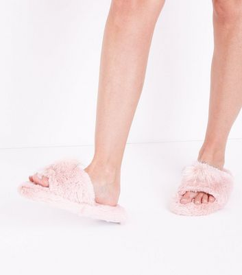 Pink Pom Pom Faux Fur Slider Slippers New Look