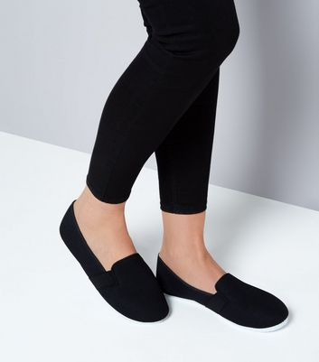 Black Canvas Slip On Plimsolls New Look