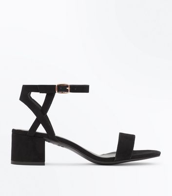Teens Black Suedette Block Heel Sandals New Look