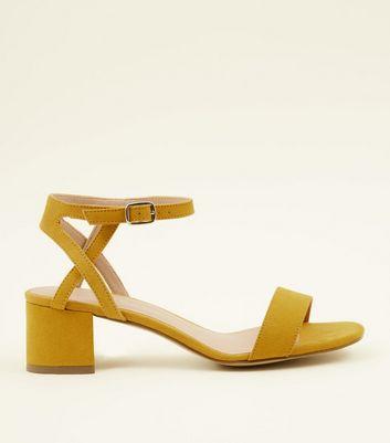 1452fe25a3c4 girls-mustard-suedette-block-heel-sandals by new-look