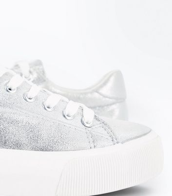 Silver Metallic Chunky Sole Trainers New Look