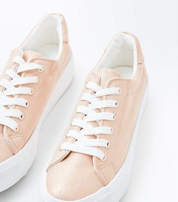 Rose Gold Metallic Chunky Sole Trainers New Look