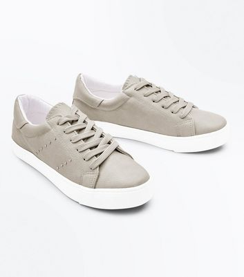 Grey Stud Side Lace Up Trainers New Look