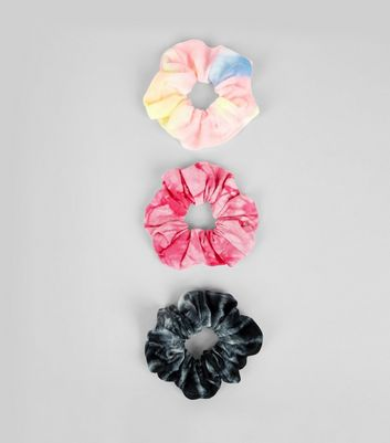 3 Pack Multi-Coloured Tie Dye Print Scrunchies New Look