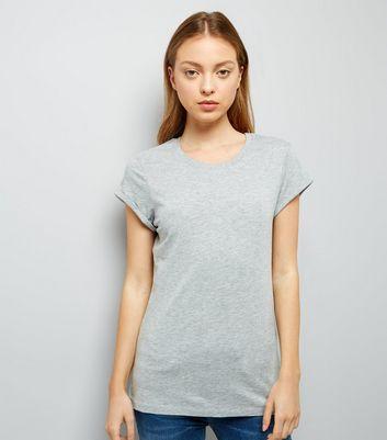 Grey Roll Sleeve T-Shirt New Look