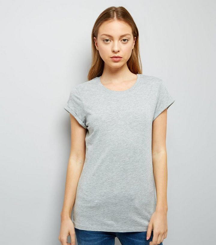 a8457fb6 Grey Roll Sleeve T-Shirt | New Look