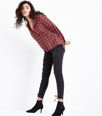 Red Check Gathered Sleeve Shirt New Look